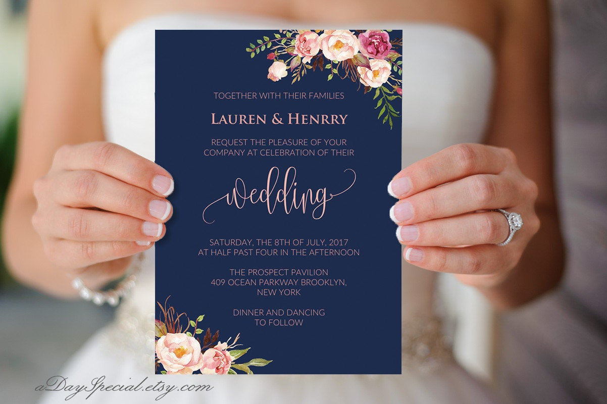 Blue And Coral Wedding Invitations: Navy Wedding Invitation Template Pink Coral Boho Chic Floral