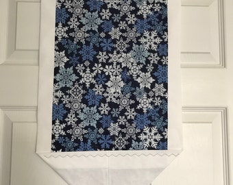 SALE-Snowflakes Table Runner Blue/white Trim
