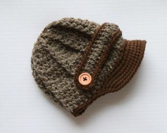 Barley and brown, Newborn baby hat ,Crochet newsboy hat , crochet baby boy hat, crochet girl hat, newborn baby hat, crochet baby hat