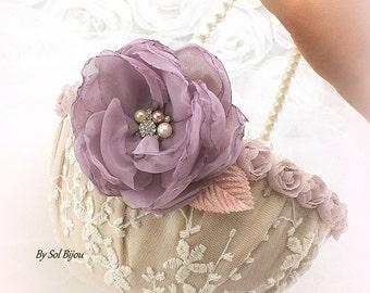 Flower Girl Basket, Lilac, Ivory, Champagne, Gold, Rose, Blush, Vintage Wedding, Elegant, Lace Basket, Pearl Handle, Crystals, Pearl Handle