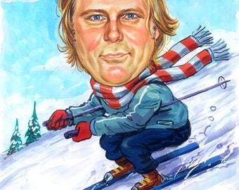 Custom Caricature, skiing,Winter Sports,Other sports