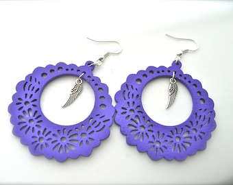 Wooden Earrings, purple Earrings, Hoop Earrings. Bright Earrings. Flower Floral,feathers earrings