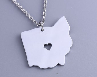 I heart Ohio Necklace - Ohio Pendant - State Charm - Map necklace - Map Jewelry