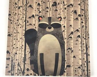 Raccoon Woodland Wall Art, Cabin or Nursery Decor, Colorful Graphic Art print on wood, Wood Wall Art