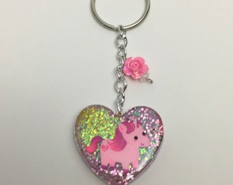 Cute Unicorn Resin Keychain