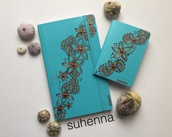 teal plumeria henna notebook set