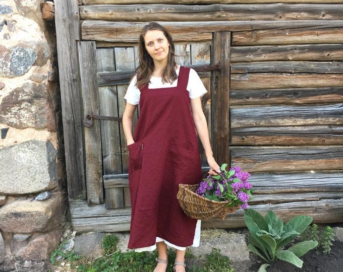Linen Pinafore Apron, Japanese Apron, Long Linen Apron, Kitchen Apron, Crafts Apron, Womens Apron, Vintage, Handmade, Cross over apron