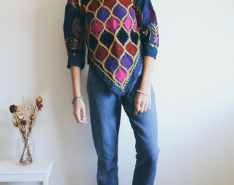 Vintage Indian Style Top, Boho Tunic, Indian Blouse, Hippie, Bohemian Clothing, 70s Style, Indian Block Print