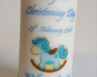 Baby Boy Christening Personalised Candles