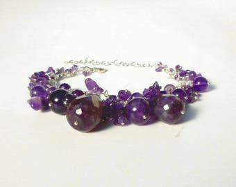 Amethyst Bracelet -  Natural Gemstone Purple Violet Bead Charm Bracelet  in Recycled Sterling Silver