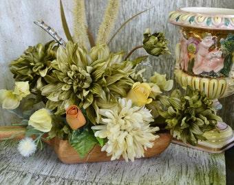 Wooden Scoop Floral Arrangement Sage and Cream Flowers in Phillipines Wood Scoop