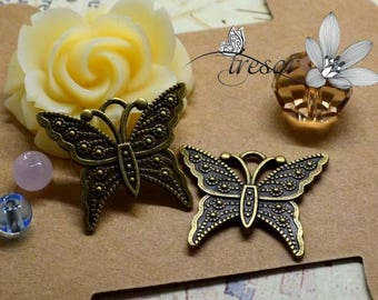 Set of 6 QDW297 Bronze Butterfly pendant, insect