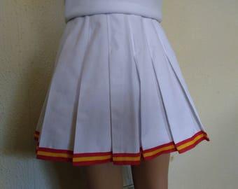 USC White Gold Cheerleader Uniform Football Game Halloween Costume Skirt