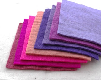 """100% Wool Felt Fabric - Approx 3mm - 5mm Thick - 8 Assorted 15cm / 6"""" Square Sheets - Pink Purple Colors"""
