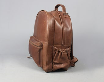 SAMPLE SALE: The utility backpack vintage style leather rucksack backpack baby changing weekend bag cabin flight mens womens luggage gift