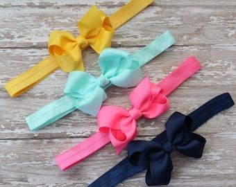 Bow Headband Set - Yellow, Aqua, Pink, Navy baby Headbands, Bow Headbands, Gift Set, Newborn Headbands