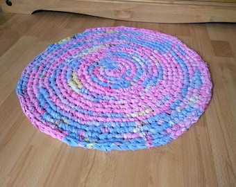Handmade Crocheted Round Rag Rug, Eco Friendly, Upcycled Rug. Eco Rug.