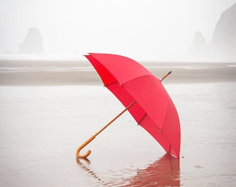 Beach Photography, Red Umbrella, Red Umbrella Photograph, RED, Summer Photograph, Spring Rain, Cannon Beach Oregon