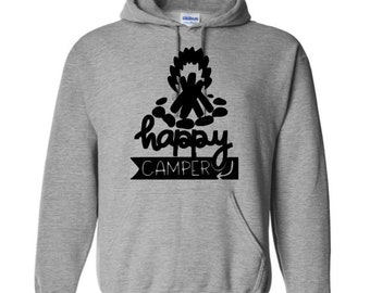 Happy Camper Camping Outdoor Bonfire Funny Unisex Pullover Hoodie Sweatshirt Many Sizes S-5X Colors Gift Jenuine Crafts