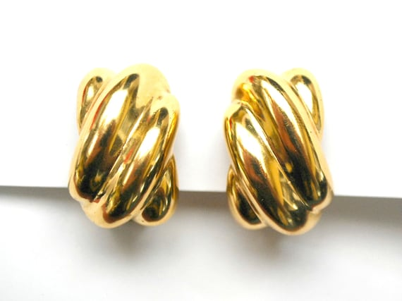 Bold Gold Earrings Signed Nordstrom Wavy rectangle  chunky gold plated Clip on earrings gift for her