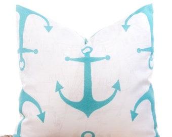 "SALE ENDS SOON Nautical Throw Pillows, Anchor Pillowcase, Teal Blue Pillows, Beach Decor, Cotton Pillows, 20 x 20"""