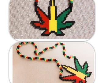 Pot Leaf Perler Necklace