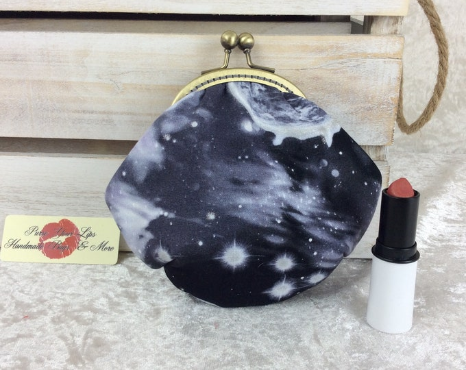 Space coin purse wallet fabric kiss clasp frame wallet change pouch handmade planets stars