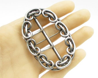 925 sterling silver - vintage cameo chain link brooch pin - bp1075