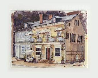 8.5x11 original watercolor of cafe in Georgetown