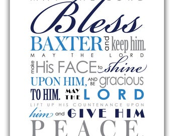 May the Lord Bless You and Keep You - Print & Frame Your Own Personalized Scripture 8x10 - Pick Colors - Numbers 6 Blessing
