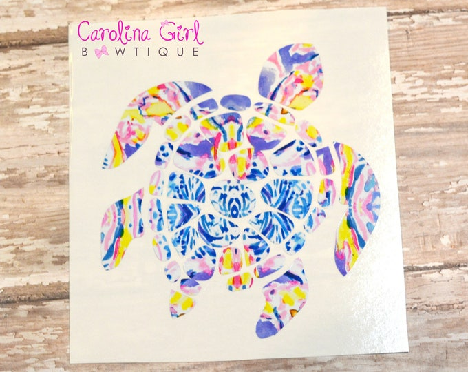Lilly Pulitzer Inspired Sea Turtle Decal ~ Yeti Decal ~ Lilly Car Decal ~ Lilly Decal ~ Lilly Sticker