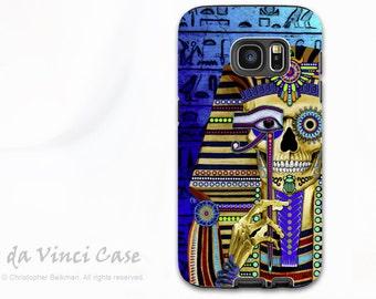 Egyptian Skull Case for Samsung Galaxy S7 EDGE  - Premium Two Piece Egyptian Sugar Skull Case with Colorful Skull Art - Funky Bone Pharaoh