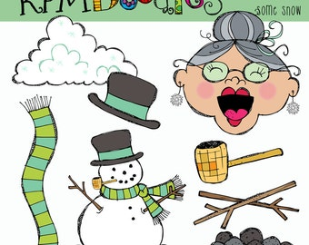 KPM Old lady who swallowed Some Snow Digital Clipart