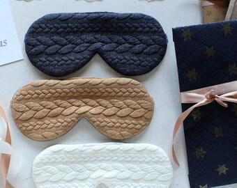 Sleep Mask, Gift For Her, Knit Sleep Mask, Eye Mask, Cotton Sleep Mask