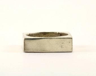 Vintage Plain Square Design Band Ring 925 Sterling Silver RG 649
