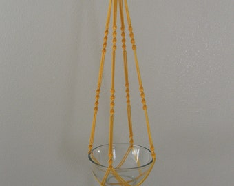 """Hand Crafted Macrame Plant Hanger- Yellow 42""""-45"""" (Available in all colors)"""