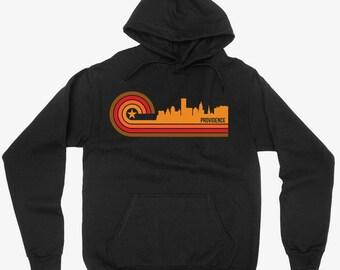 Vintage Retro 1970's Style Providence Rhode Island City Skyline Hoodie