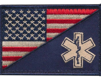 "Tactical USA Flag / EMT ""Rod of Asclepius"" Embroidered Patch"