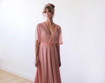 Peach pink sheer chiffon maxi gown with bat sleeves, Bridesmaids chiffon maxi dress 1027
