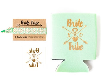 Mint  Bride Tribe Bachelorette Gift Set | Metallic Gold Tattoo, Hair Tie + Drink Cooler | Mint Green Bachelorette Party Favor