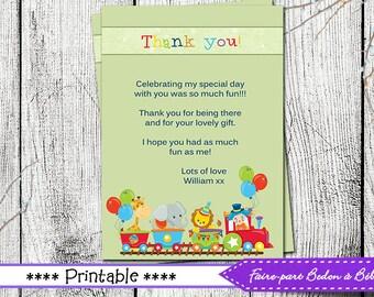 Thank you Card  - Jungle thank you card - jungle card - jungle - printable card -Digital printable file