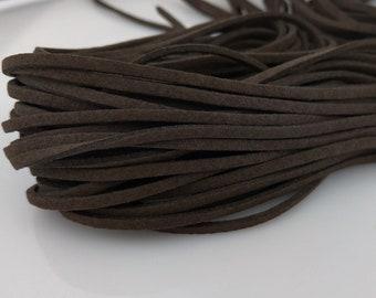Suede Cord, Dark Brown, 1 Meter, Faux Suede Cord, Suede Leather, DIY Necklace Bracelet, Vegan Cord, Necklace Cord, Boho