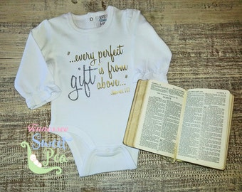 Bible Verse Clothing, James 1:17, Every Perfect Gift, Gift from God, Blessing, Miracle, Girl Bible Verse Clothing, Baby Girl Christian