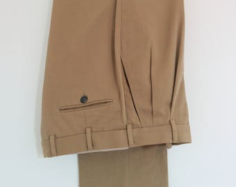 Ermenegildo Zegna beige gabardine cotton pleated trousers