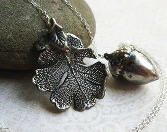 Oak leaf and Acorn Necklace, oak leaf necklace, lariat Y-necklace, Oxidized Sterling Silver, real leaf jewelry