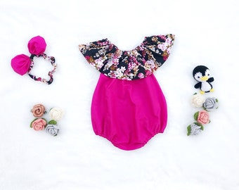baby girl romper- baby romper- baby girl clothing- Ruffle Romper- Baby Romper for Girls- baby playsuit- cotton- Flower top Fuscia romper