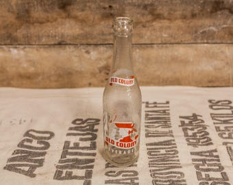 Vintage 1950s Old Colony 10oz Glass Bottle, ACL Glass Bottle, Red White Duraglas Bottle