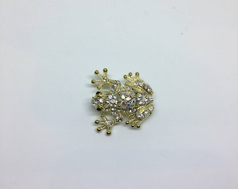 1980s Gold enamelled Frog brooch with inset stones.