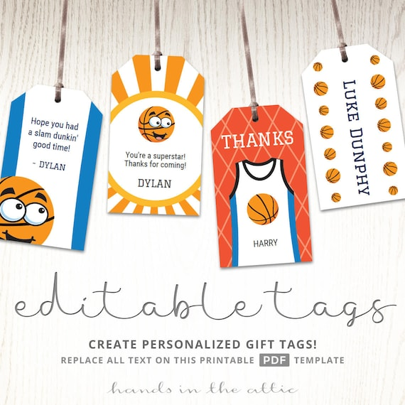 Sports Birthday Party Editable Gift Tags Labels Printable