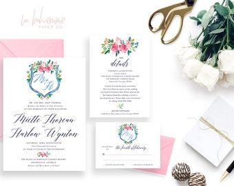 Printable Wedding Invitation Suite / Wedding Invite Set - The Miette Crest Suite